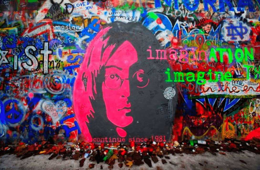 Mural wall with John Lennon