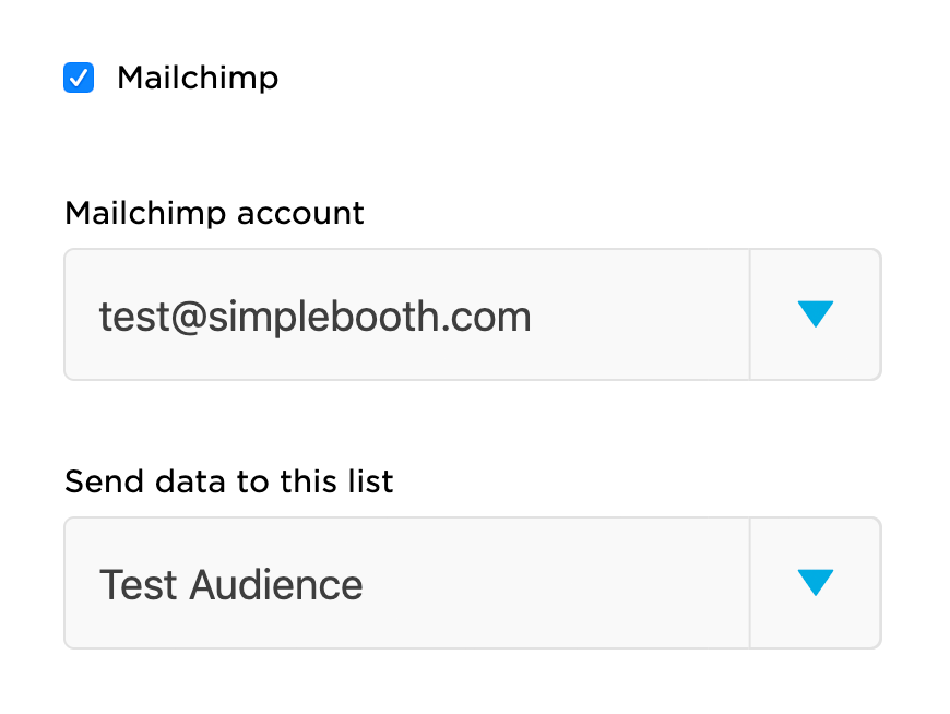 Mailchimp integration settings for a photo booth preset