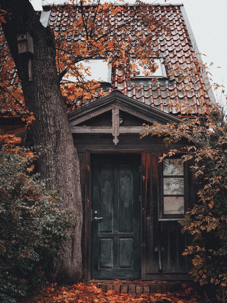 creepy cottage in fall