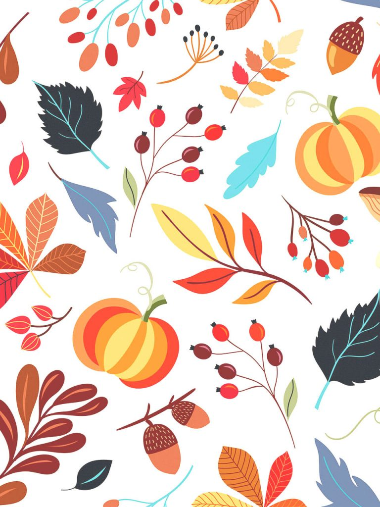 pumpkin and autumn leaves in random pattern photo booth background