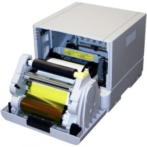 inside of dye sub photo booth printer
