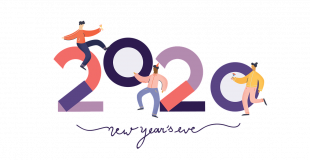 happy new year's 2020 graphic with two people dancing