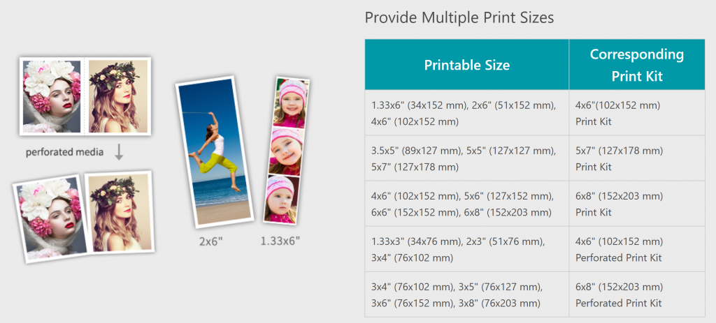 hitip535l print sizes chart photo booth printer