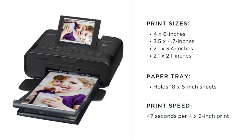 canon selphy printer with print sizes chart
