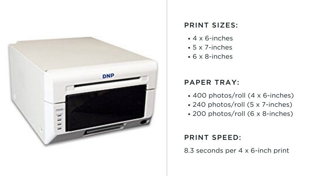 dnp photo booth printer with print size chart