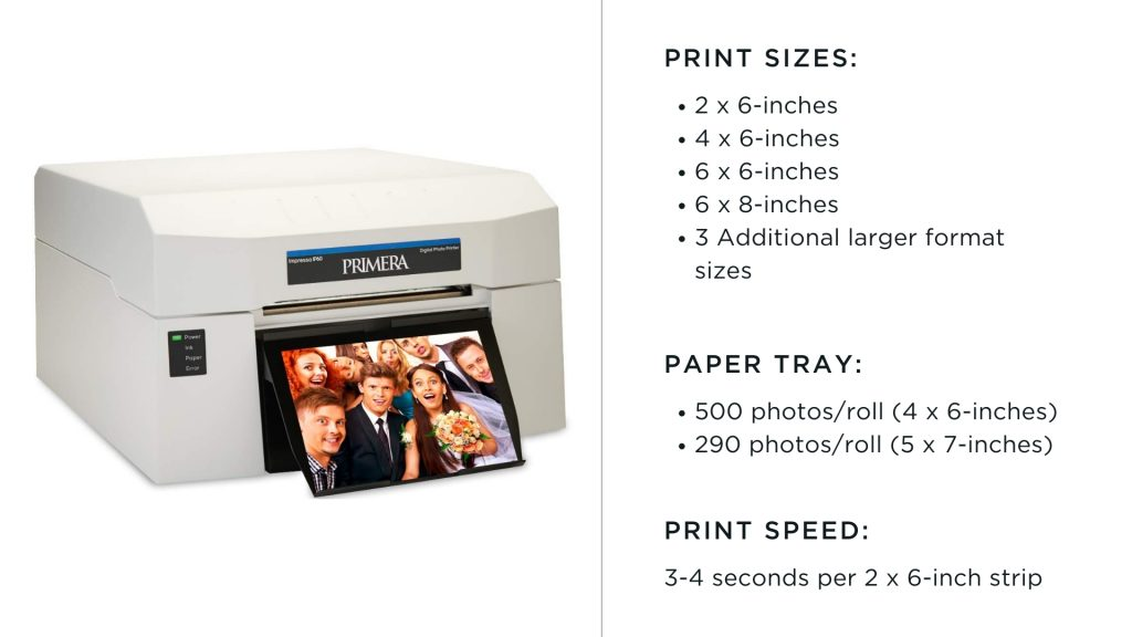 primera impressa photo booth printer with print size options