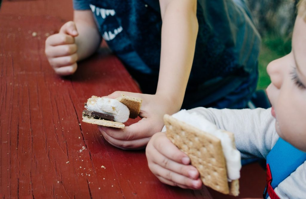 kids eating smores at backyard picnic table