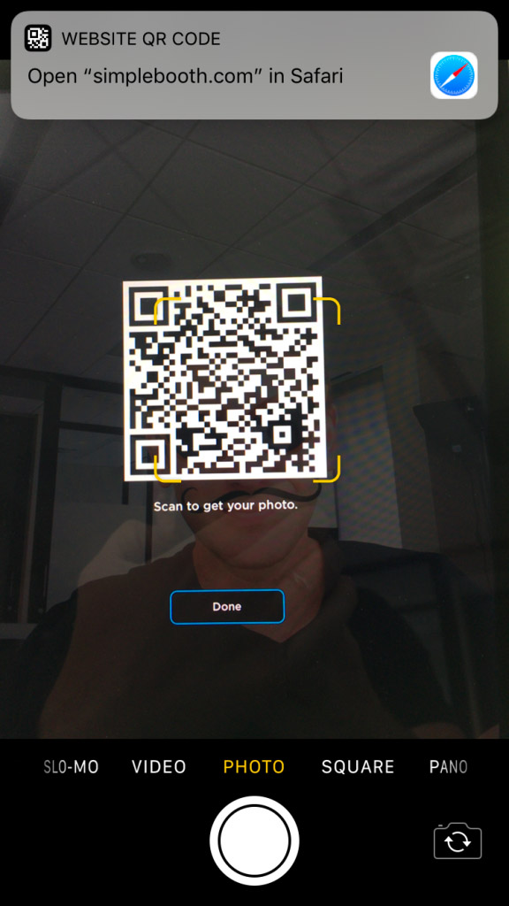 qr code for hands-free photo booth